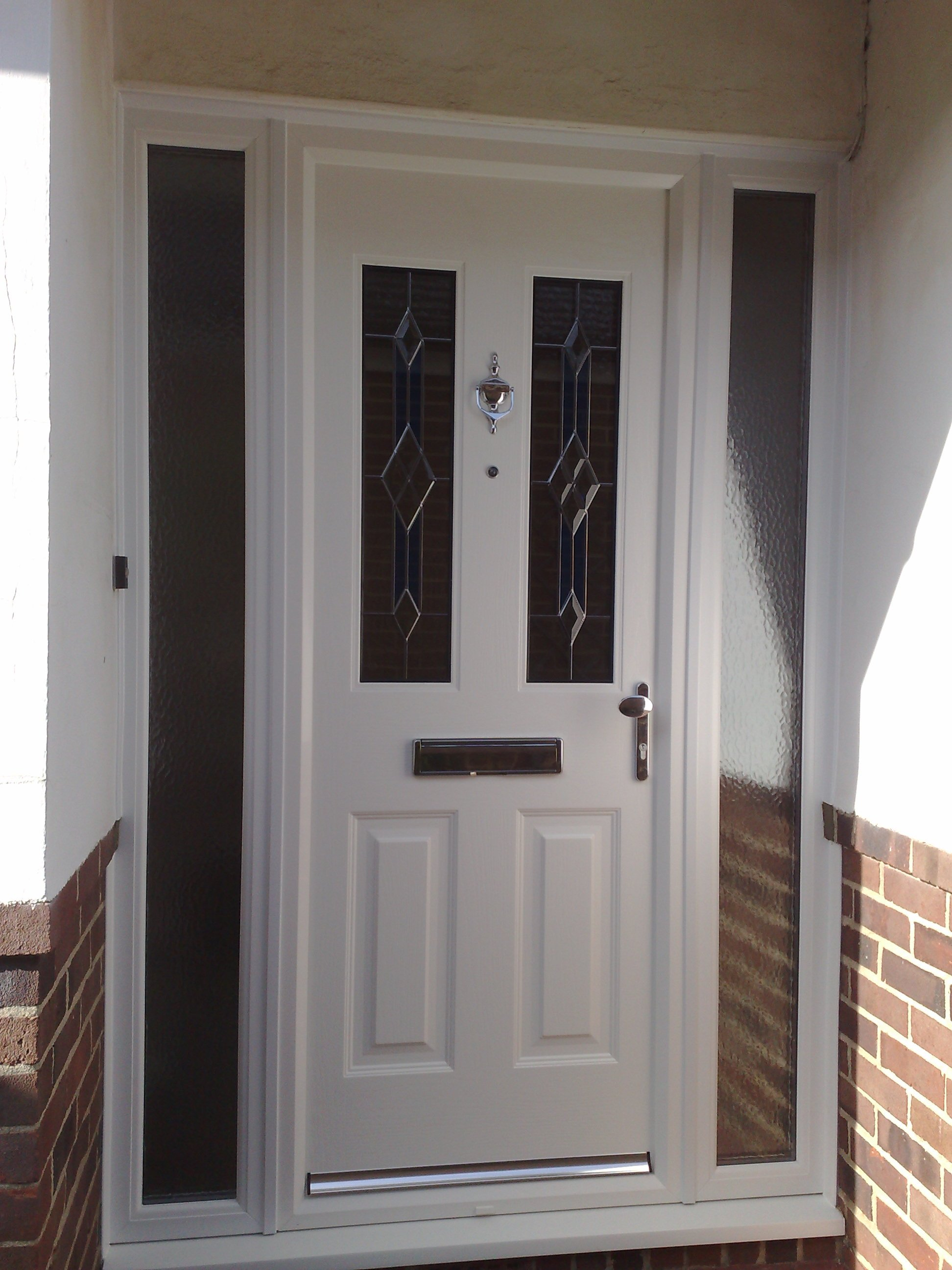White comp door with 2 side lights