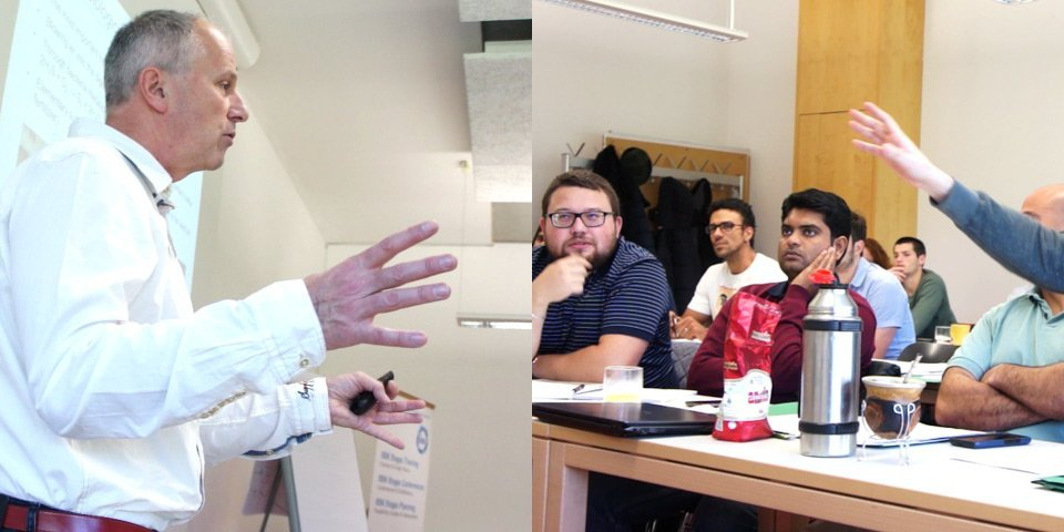 Class with  head instructor Michael Koettner (IBBK CEO) giving a lecture about sediments in digesters. –  Participants asking questions.