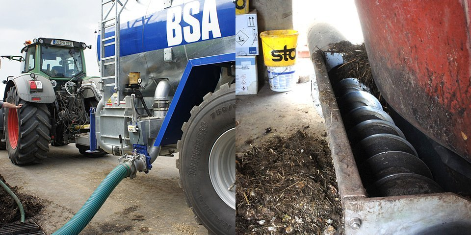 The liquid manure is pumped from the lorry car into the storage tank. – The new substrate is getting mixed and fed into the digester.