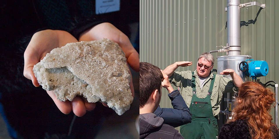 Crystallised ammonium sulphate fertiliser obtained from the digestate liquids. – Plant owner explains the feeding of the digester.