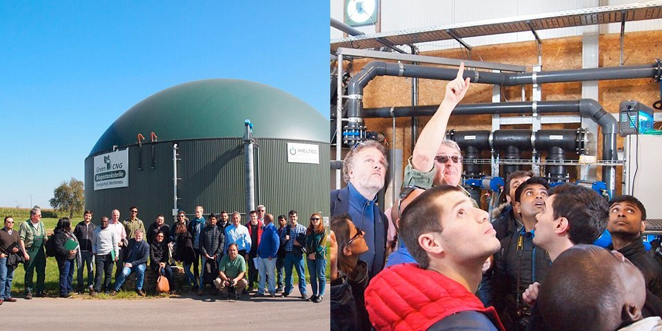 Group in front of the biogas plant Energiehof Weitenau. – Plant owner explains the obtaining of a crystallised fertiliser from liquid digestate.