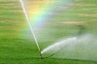 Watering lawn after hydroseeding in Fairbanks, Alaska