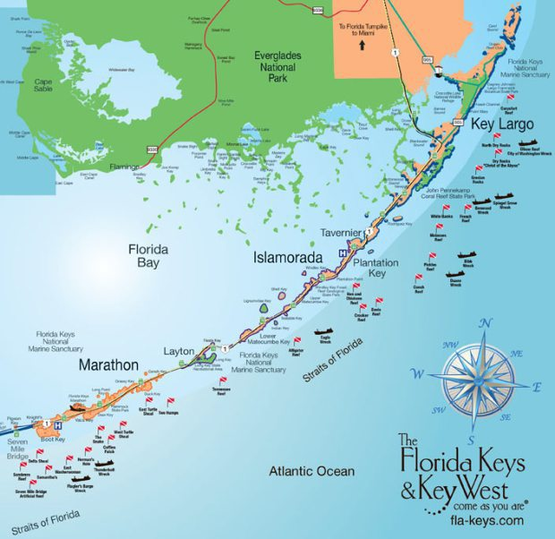 Florida Keys map available at Activities in the Keys MM106
