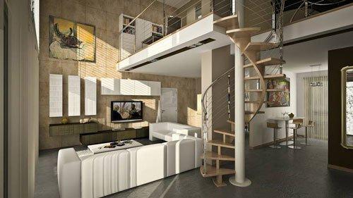 interno di una casa con vista delle scale a chiocciola