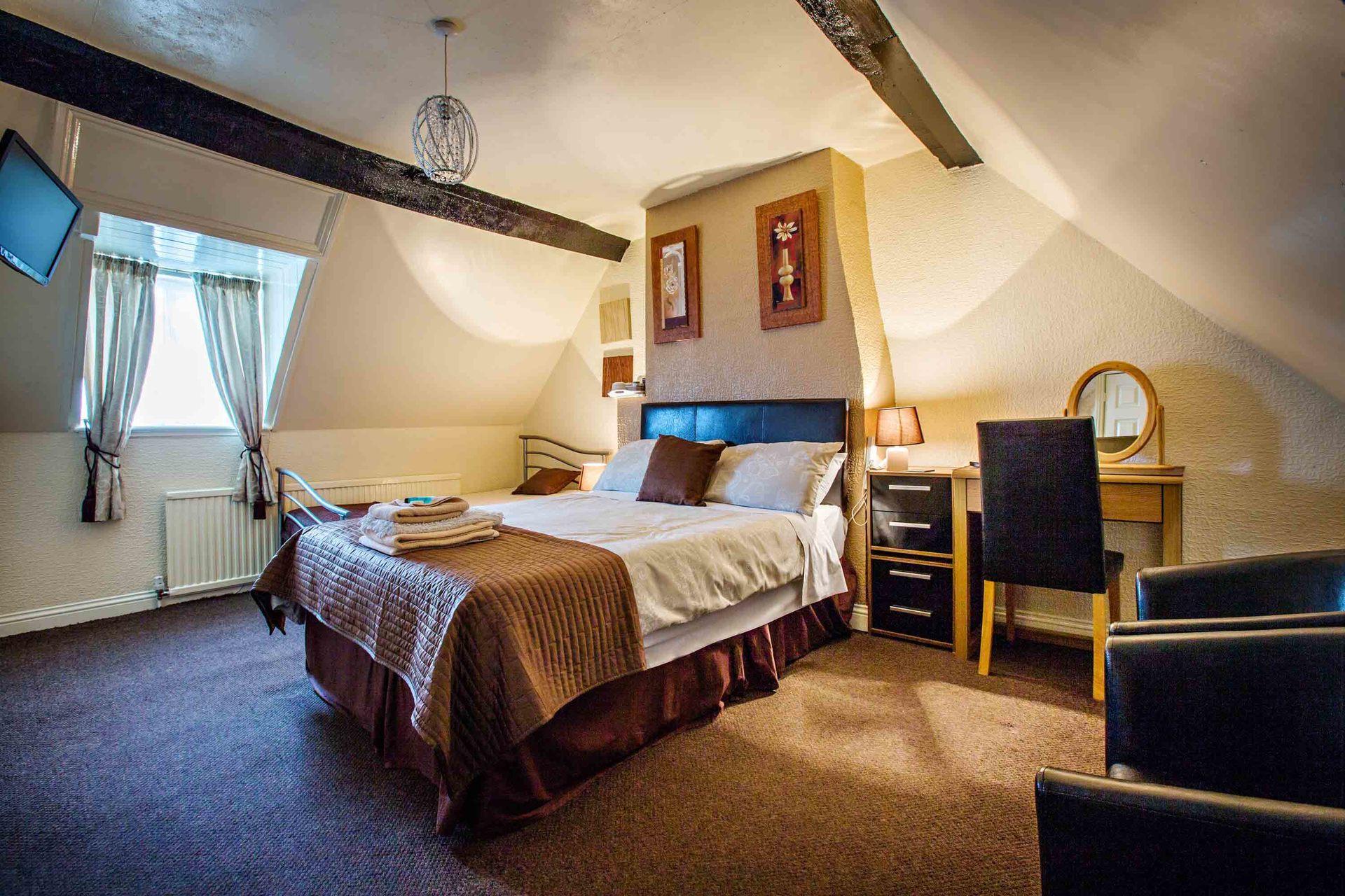 generous bedroom with eves