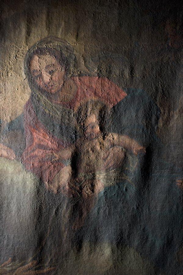 pittura di Giovanni Bellini -Madonna del Prato con bambino prima del restauro in luce