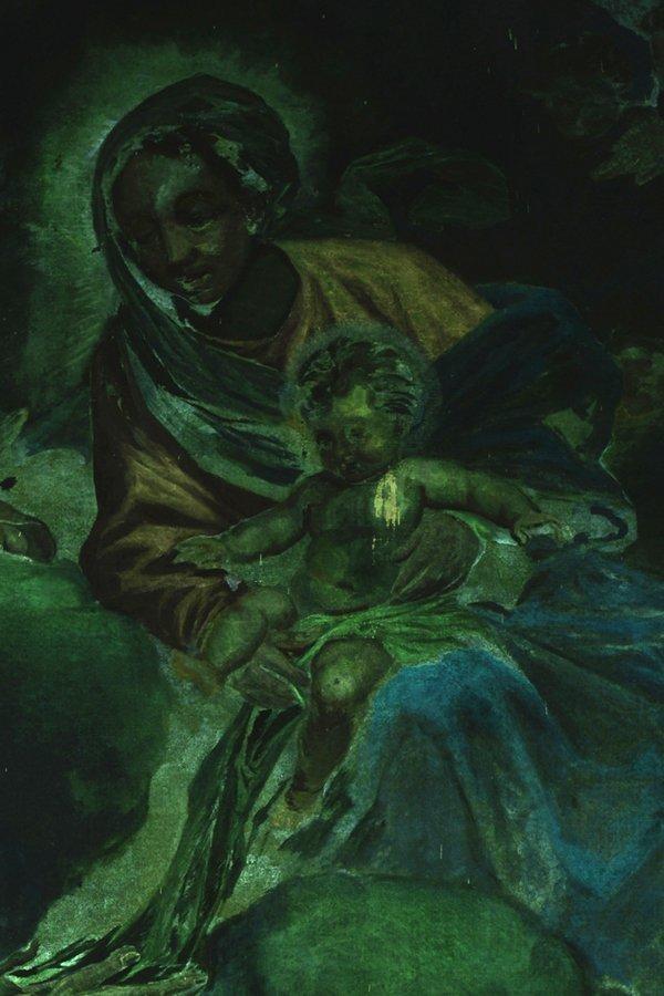 pittura di Giovanni Bellini -Madonna del Prato con bambino prima del restauro in fluorescenza
