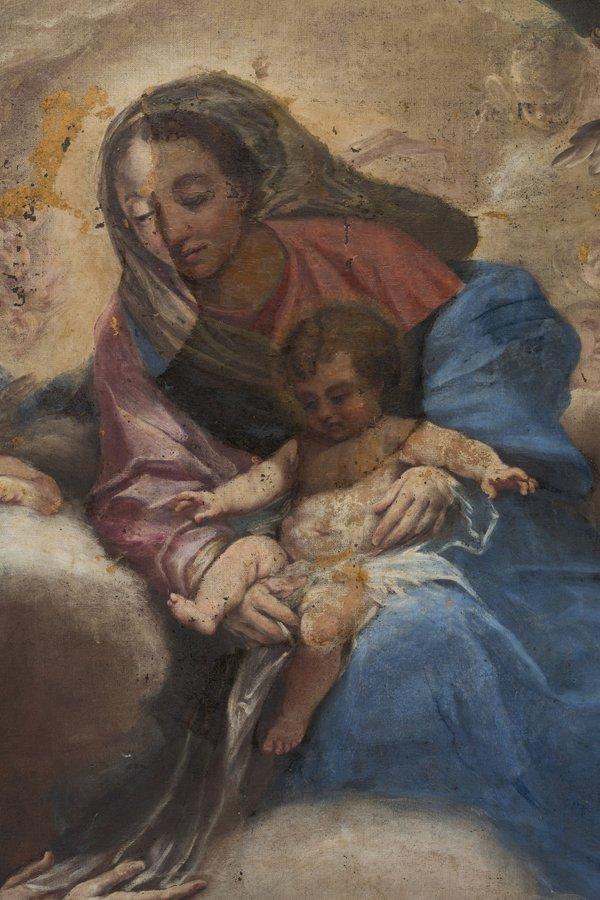 pittura di Giovanni Bellini -Madonna del Prato con bambino durante il processo di restauro