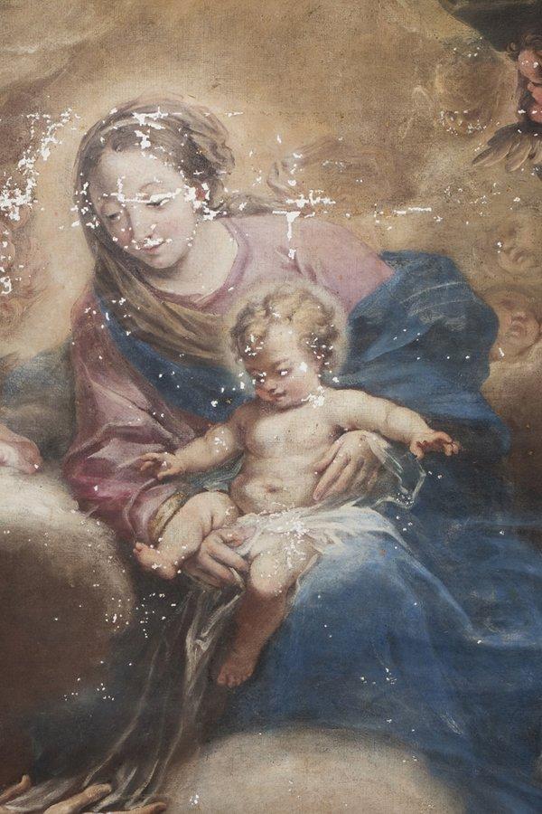 pittura di Giovanni Bellini -Madonna del Prato con bambino durante stuccatura delle lacune