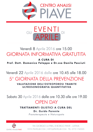 EVENTI DI APRILE | CENTRO ANALISI PIAVE