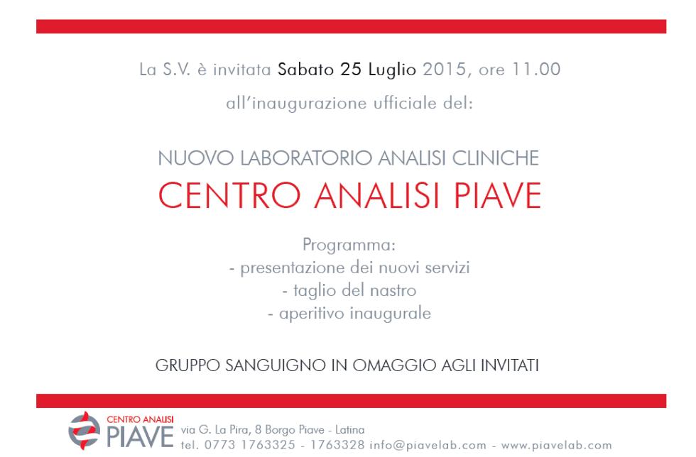 Invito inaugurazione ufficiale Centro Analisi Piave