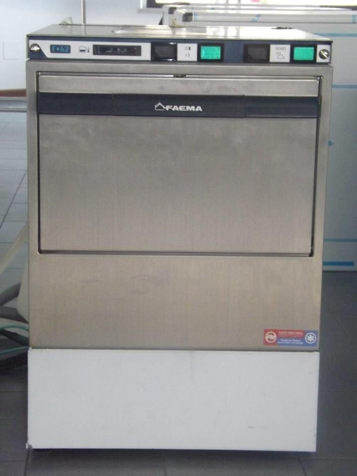 Lavabicchieri FAEMA F62 parete singola - lance lavaggio risciacquo inox cesto 35x35 - altezza utile max cm21 - dimensioni cm43x49x62h.jpeg