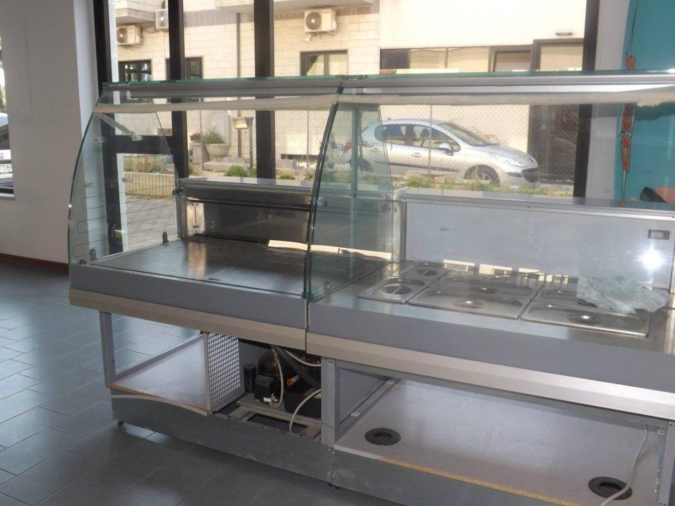 USATO- Vetrina refrigerata DSL grezza cm 100 vetri alti curvi con 2 ripiani in cristallo- Vetrina bagnomaria DSL