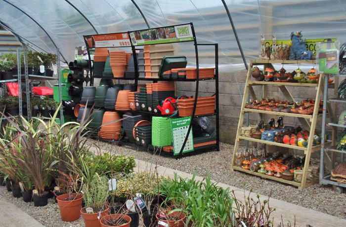 shelves with garden equipment