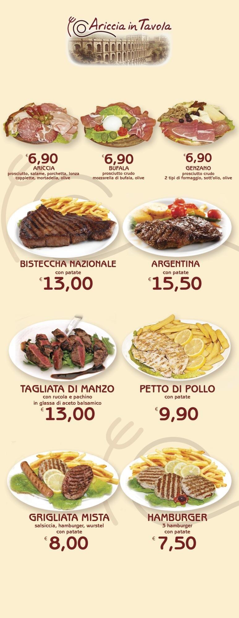 Menu' carne alla griglia Ariccia in Tavola Aprilia