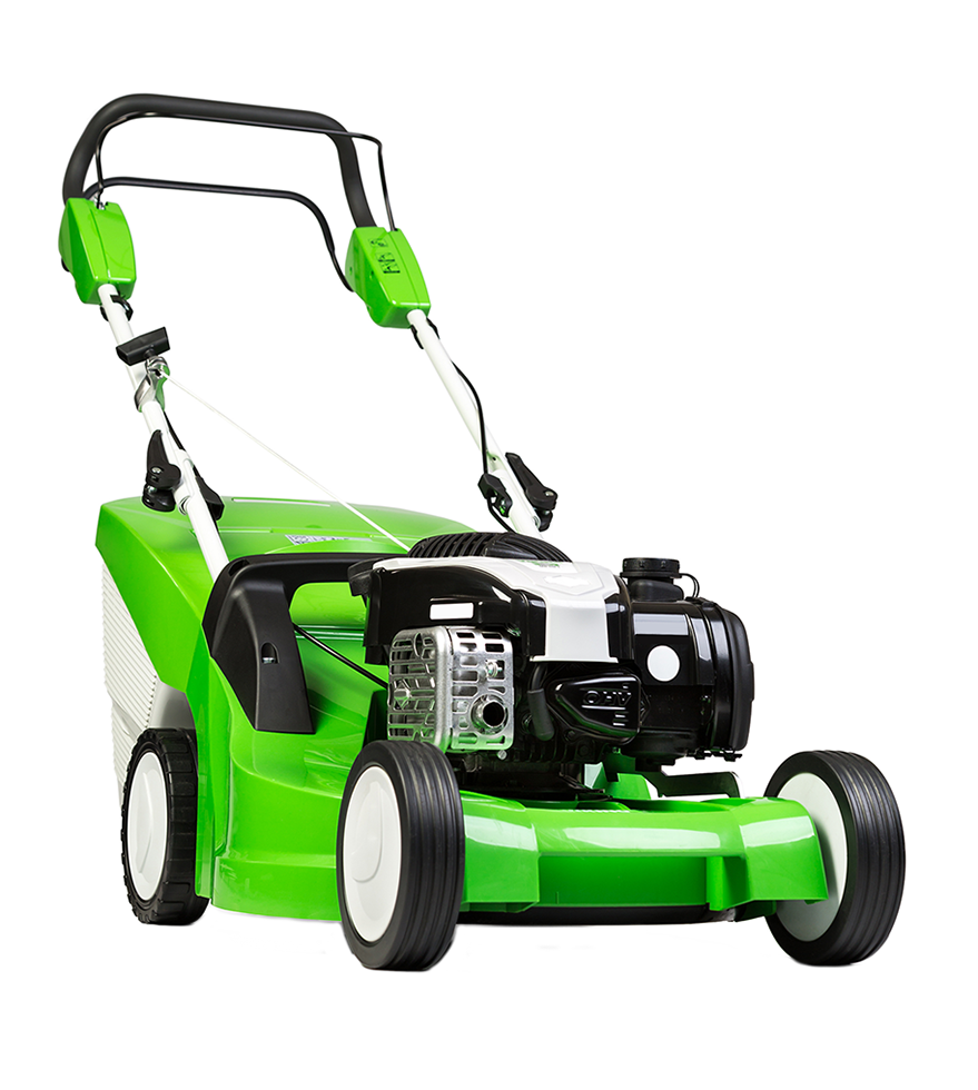 Bright green lawnmower