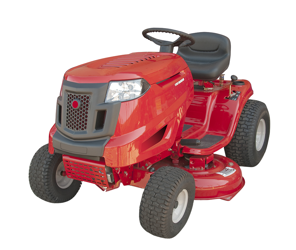 Red riding lawn mower