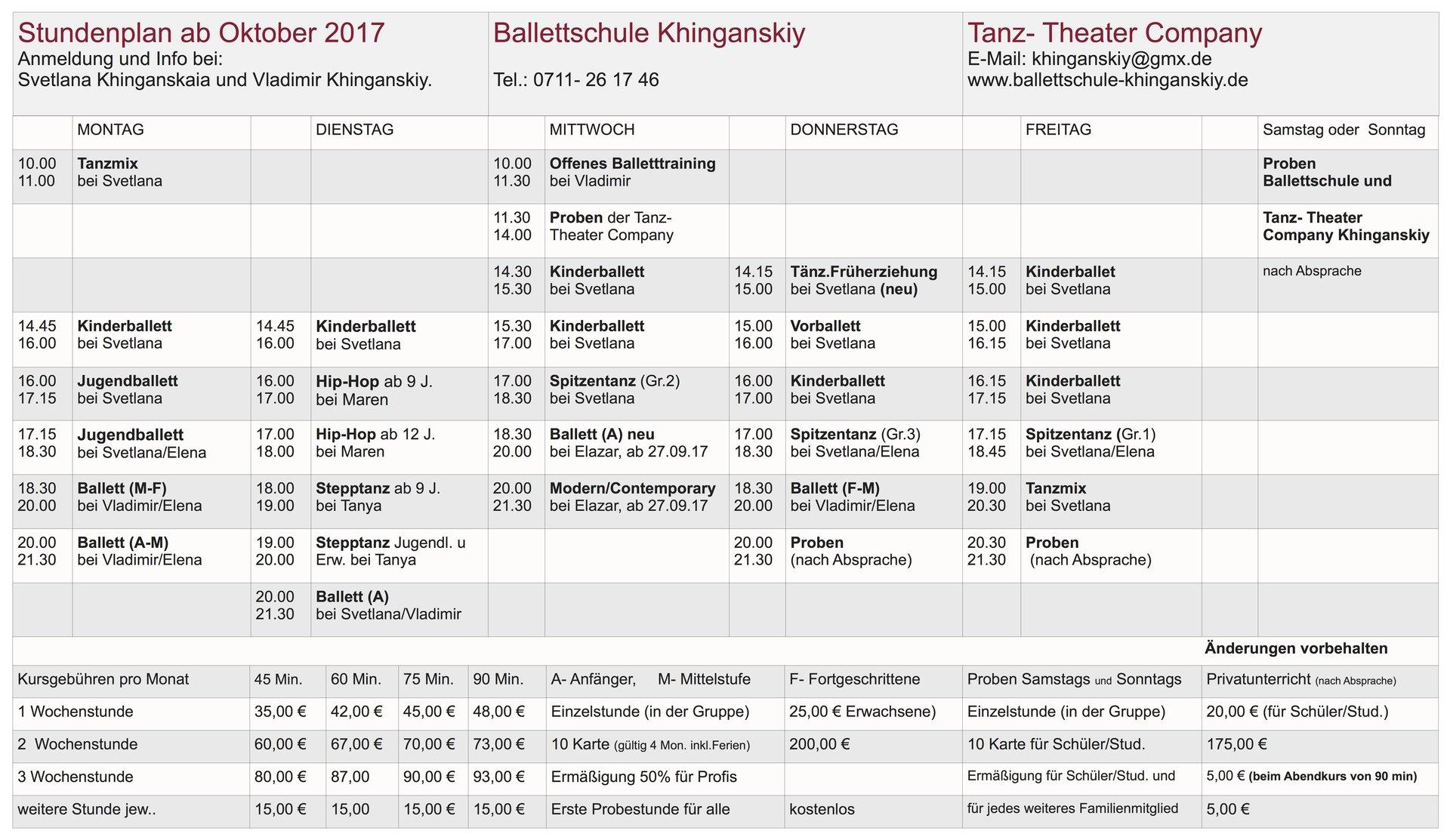Stundenplan ab Oktober 2017