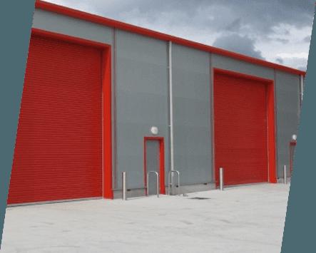 Red roller shutter doors