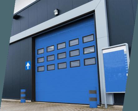 A blue sectional overhead door