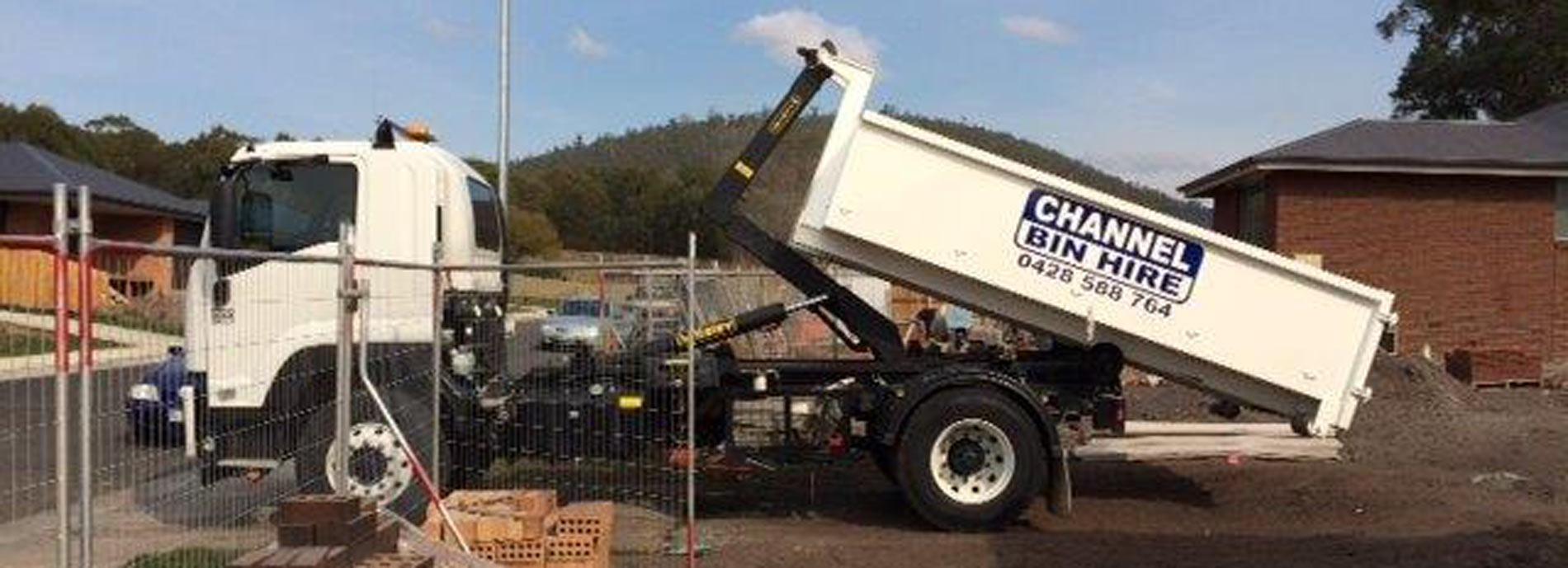 channel earthmoving truck with bin hire in Kingston
