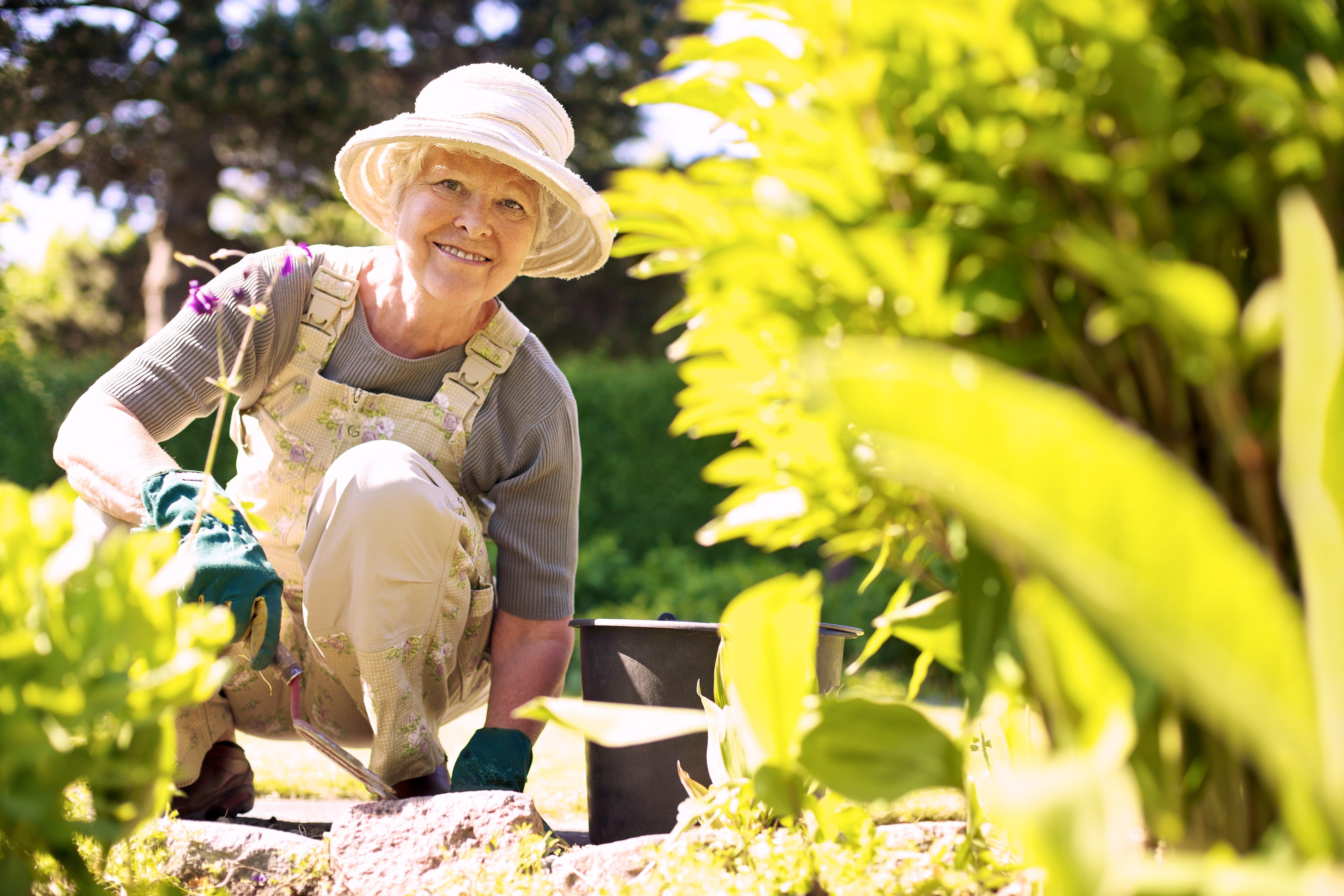 Felice donna anziana con lo strumento giardinaggio lavorando nel suo cortile giardino