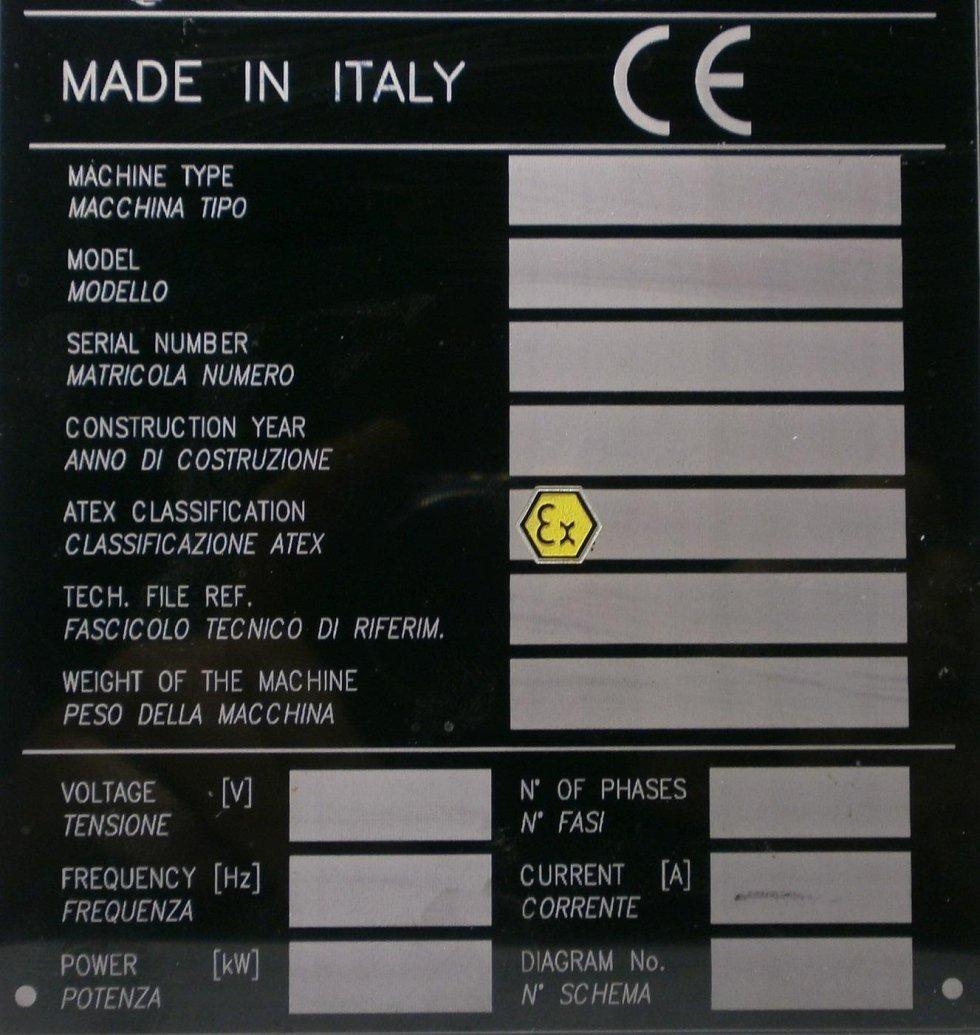 targa identificativa per macchinario