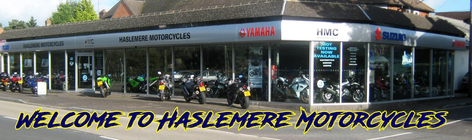 Haslemere Motorcycles shop front up to 180 bikes in stock