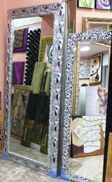 Specchio con cornice argento
