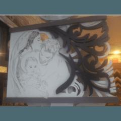 ncisione a laser su legno a rilievo dipinto a mano