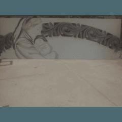 Incisione a laser su legno a rilievo dipinto a mano