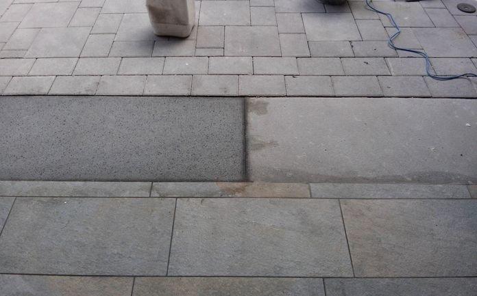 Pulitura soglio in pietra lavica