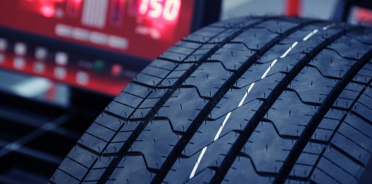 Close up of car tyre tread
