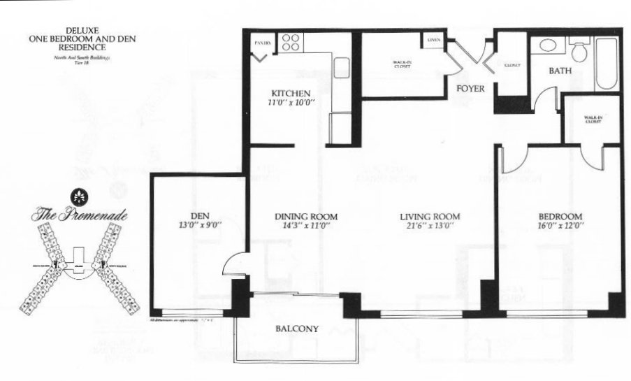 one bedroom with den. Deluxe One Bedroom and Den  1073 Square Feet Promenade Towers Bethesda Maryland