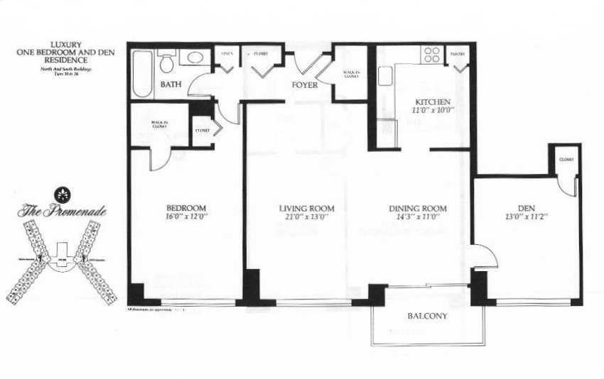 one bedroom with den. Luxury One Bedroom and Den  1117 Square Feet Promenade Towers Bethesda Maryland