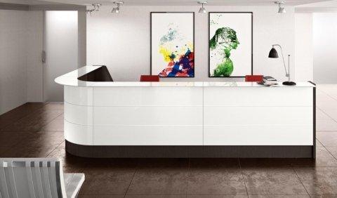 UB09_01 Reception in Bianco Lux, Bianco Latte e Rovere Grigio