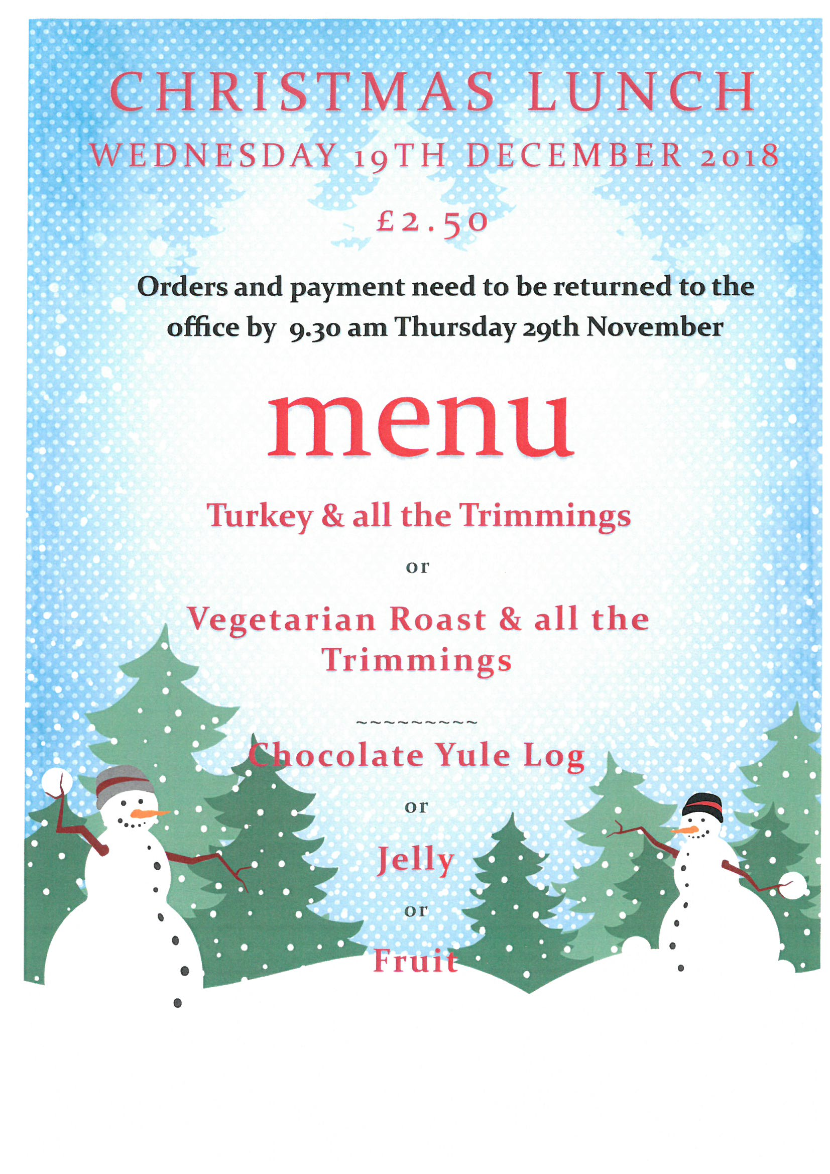 Hot Meals for next term & Christmas Lunch