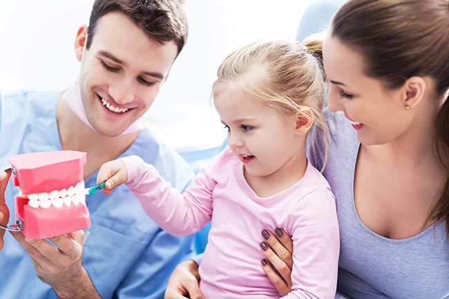 Male hygienist holding plastic teeth dentures while young girl practices brushing teeth in Cincinnati