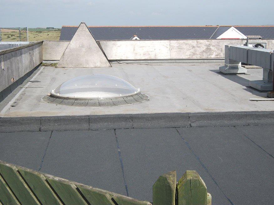 A felt roof installation