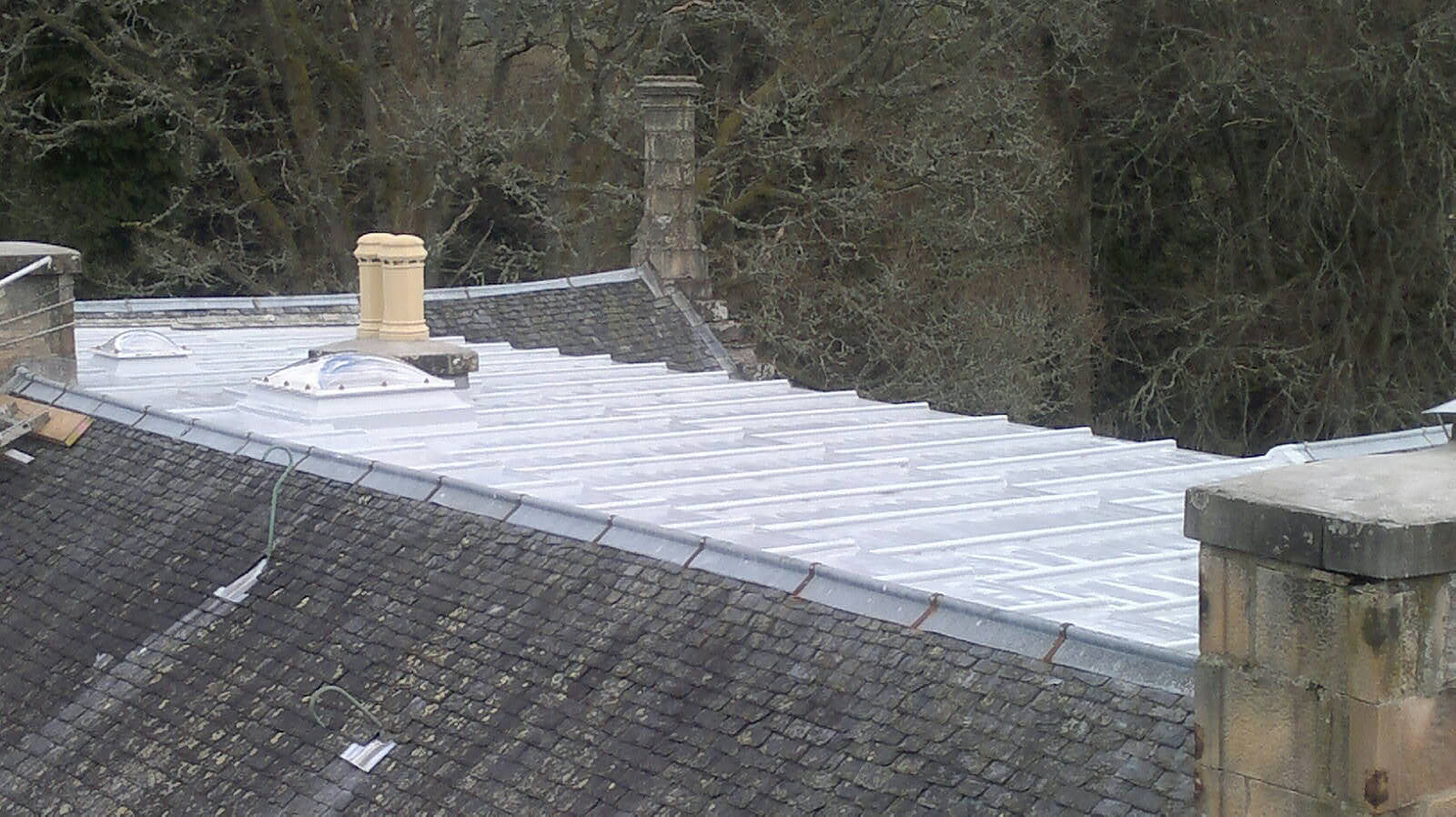 A completed flat roof