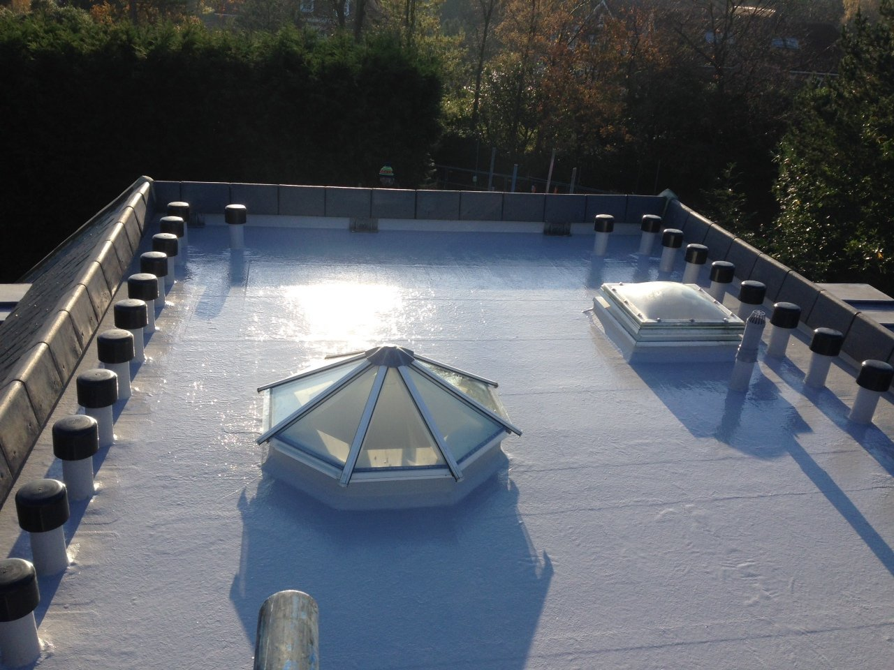 grp roof with hexagonal roof lights