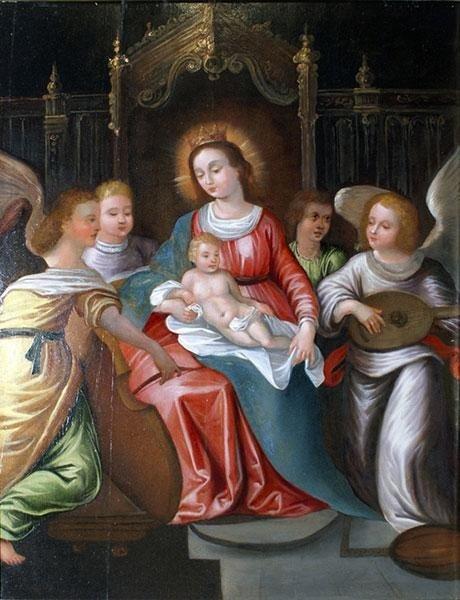 Madonna olio su tavola ,scuola nord europa del XVIII sec. Con cornice cent,70x45
