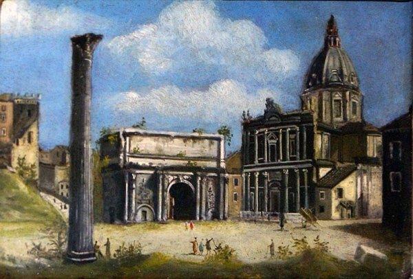 Piccola veduta di Roma ,dipinto su tavola  scuola  Italiana del 700/ cornice dorata cent.13x21