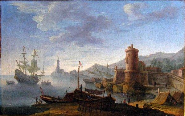 Veduta fantastica di Napoli,scuola Fiamminga del XVIII sec. con cornice dorata cent.27x40