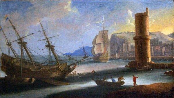 Marina olio su tela att. LACROIX de MARSEILLE,epoca XVIII secolo cent.30x50