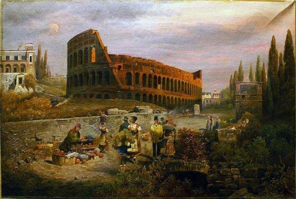 Veduta del Colosseo firmata : Poretti  ,metà 800/  con cornice dorata cent.60x80