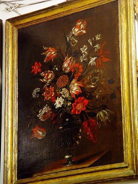 Natura morta , composizione di fiori ,in cornice dorata S.Rosa  att.'Giuseppe Recco , XVIII sec. Cent.1000x60