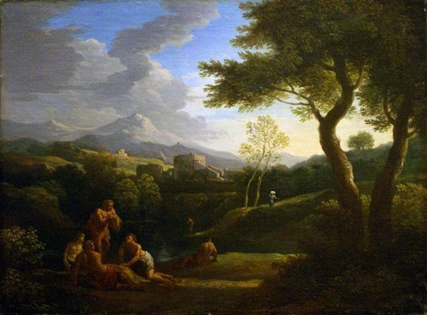 Paesaggio Laziale con cornice antica Salvator Rosa , att:  Franz Van Bloemen ,  cent.50x68