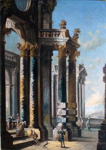 Architettura,scuola Italiana  del XVIII  sec. con cornice dorata antica ,cent.70x45