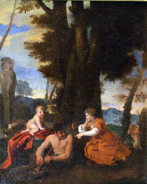 Scena Mitologica , scuola Italiana del XVII sec cornice dorata antica cent,45x30